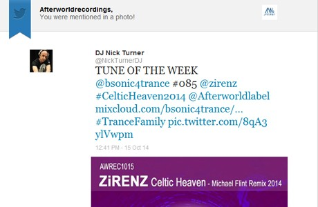 RADIO Support bsonic4trance Nick Turner TUNE OF THE WEEK - Zirenz - Celtic Heaven Micheal flint remix