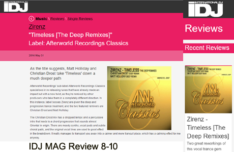 Zirenz Timeless The Deep Remixes Afterworld Classics IDJ MAG Review 8-10
